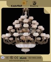 interior decoration big marble chandelier bronze with 40 light