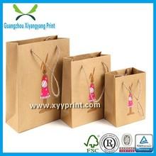 Wholesale OEM Custom Printed brown Shopping Tote Paper Bag