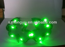 Hot selling Crazy amazing plastic LED flashing luminous/fluorescent cloverparty glasses