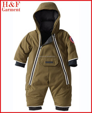 Baby winter clothing with heavy padding in Khaki custom logo