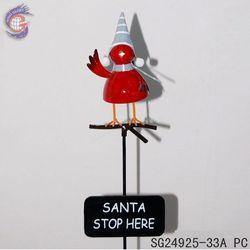 garden metal bird stick of christmas decor with stop sign