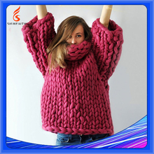 Hand-Knitted Sweater Big Knit Wool Sweaters Bulky Chunky Sweater Wool