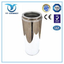 CE stainless steel double wall stove chimney flues, chimney straight pipe for firesplaces