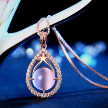 Alibaba 925 Silver Latest Italia Rose Gold Necklace Opal Jewelry For Lady
