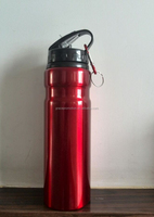 Custom color 500ml aluminum sports bottle with straw for promotion