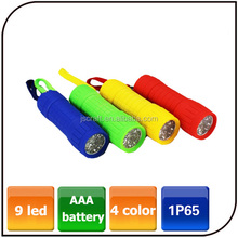 Waterproof 4 colors Keyclain promotion portable AAA battery mini 9 led torch