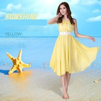 Women Fashion Loose Short Chiffon Casual Loose Fit Summer Dress With Belt SV023218