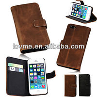 REAL GENUINE LEATHER FLIP STAND WALLET CARD POUCH CASE COVER FOR IPHONE 5 5s