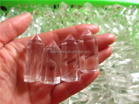 Wholesale single terminated quartz crystal points,6 facet rock crystal pencil points