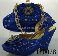 Royal blue african ladies shoes high heel design
