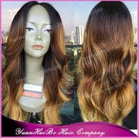High Quality! three tone #1b/4/27 virgin malaysian hair loose wavy ombre front lace wig