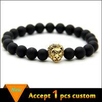 European black beads bracelet, lion head bead bracelet, mens bead bracelets gold lion