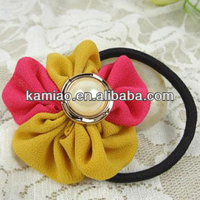 2014 new hair accessory jeweled korean elastic hair band with flower