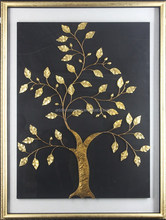 Golden Tree Painting with Floating Frame