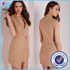 Yihao newest wholesale factory design women elegant V neck crepe sleeveless blazer dress 2015
