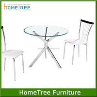 Round cheap metal glass top assemble easy table
