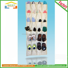 beige 600D polyester 24 pockets over the door hanging shoe organizer