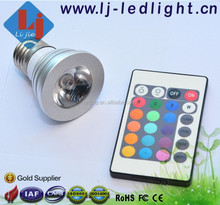 China Alibaba 3W LED Light Bulb E27 16 Color Emitting with Remote Control for Studio, Private club, Entertainment Lighting