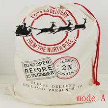 2015 Eco-friendly cotton canvas santa sack bag with drawstring for gift