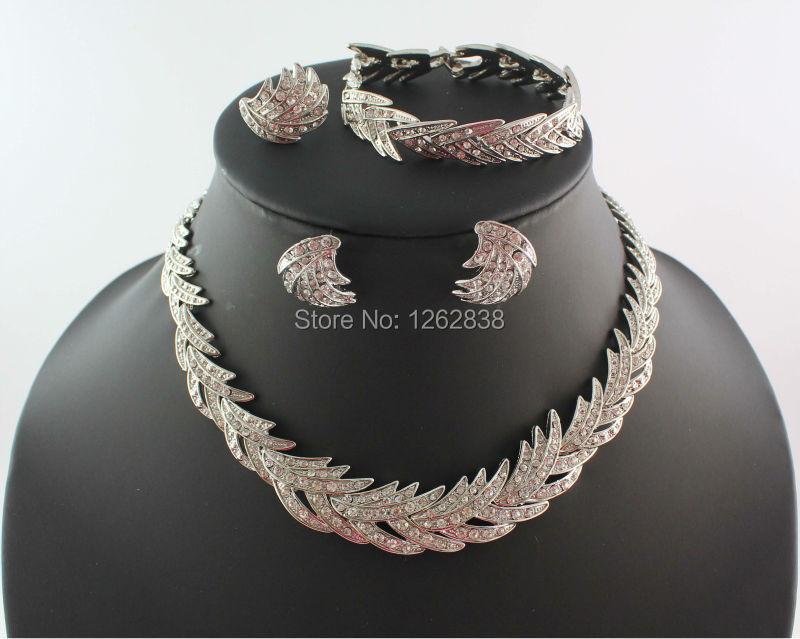 Бесплатная доставка мода комплект ювелирных изделий для женщин европейский ясно кристалл горного хрусталя посеребренные ювелирные комплект WB-21272