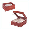 6slot glass top wood storage chest for watch