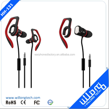 OEM &ODM detachable ear hooks earphones With Microphone Patent Designed and volum control for work out