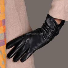 Elegant Fashion long female black genuine leather gloves