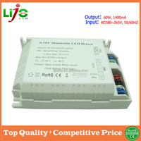 Wholesale 2015 60w 1400ma triac led driver with PWM contol method 0/1-10v dimming for led light 3years warranty