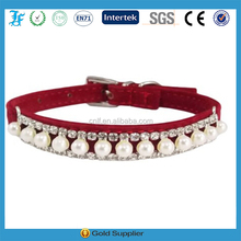 Adjustable Red Velvet PU Suede Leather Bling Diamonds and Pearls Fashion Collar for Dogs, Puppies, Cats or Kittens