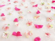 2015 Very Hot Sale 100% Polyester Mesh Embroidery Fabric With Patch Print Chiffon Hand Work