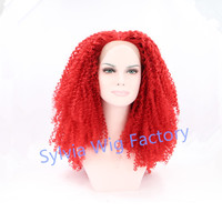wholesale high quality red curly wig synthetic lace front cosplay wigs heat resistant fiber in stock