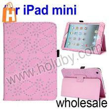 Glitter Flowers Flip Stand Leather Case for iPad Mini Retina iPad Mini with Pen Slot