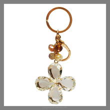 Metal Decoration Key Ring Alloy Crystal leaf Keychain Ring