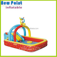 Cute inflatable round swimming pool toy with small slide for fun