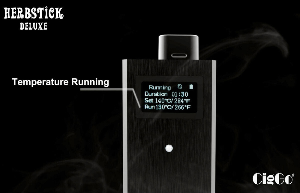 Ciggo Herbstick Deluxe vibrating remind function OLED digital wholesale weed vaporizer pen