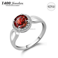 T400 ring of 925 sterling silver with red color cz from swarovski elements 4321