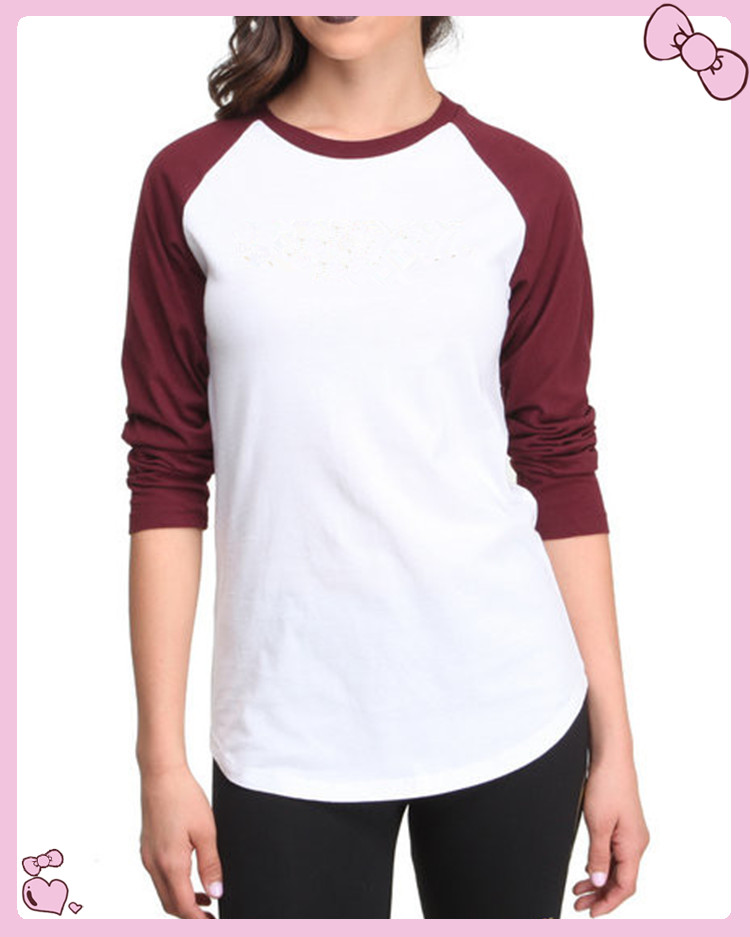 women plain raglan long sleeves t shirt wholesale view