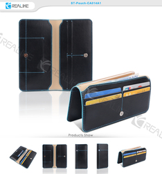 folio pouch pu leather case for 4.5-5.5 inch mobile phone