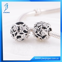 High Quality 925 Sterling Silver Clear CZ Hollow Beads S925 Charms