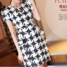 MS70038L 2015 hot selling office lady black and white checked pencil dress women summer dresses