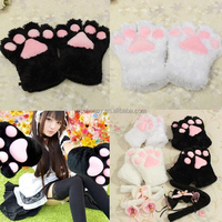 So Cute Polyester Sexy Flutty For Cat Maid Cosplay Anime Cosplay Costume Plush Gloves Set Paw Ear Tail Tie Party