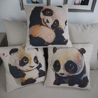 Custom panda printed coccyx cushion throw pillow decorative home
