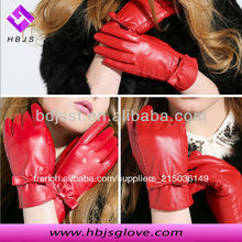 femmes mode robe rouge gants en cuir <span class=keywords><strong>de</strong></span> <span class=keywords><strong>peau</strong></span> <span class=keywords><strong>de</strong></span> <span class=keywords><strong>porc</strong></span>