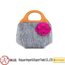 Delicate small flower felt women bag , handbag,evening bag with leather handle