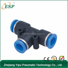 plastic quick connecting air fittings Union Tee PE(PUT) series pneumatic fitting