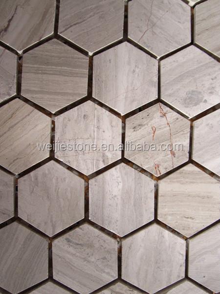 Keuken zeshoekige premium grijze houten marmer steenmozaïek tegel ...
