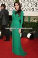 Angelina Jolie Sexy verde de larga duración de una línea de mangas largas lentejuelas noche moldeado del vestido de la celebrida