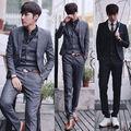Homens belos ternos( jacket+pants+vest) noivo smoking terno