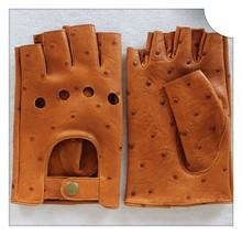 Fingerless mens leather gloves