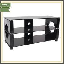 Black mdf board lcd wooden cabinets tv stand
